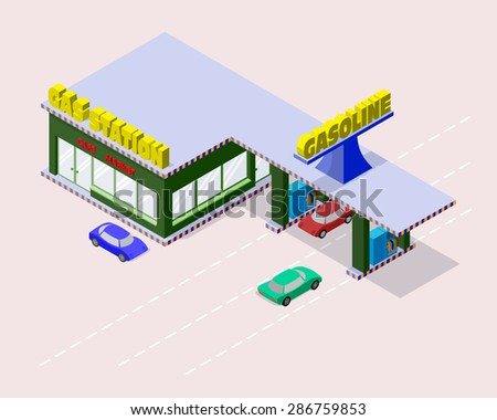 Isometric gas station with cars, gasoline pump nozzles, market, cafe and markings on the road. Vector illustration for design of some game applications. - stock vector