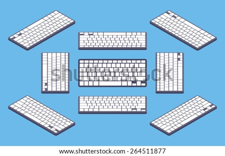 Isometric generic black computer keyboard with white blank keys. The objects are isolated against the blue background and shown from different sides  - stock vector