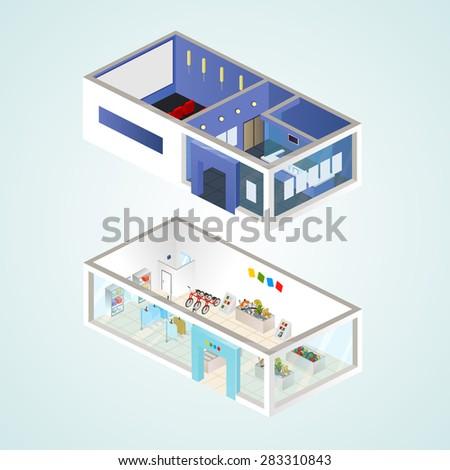 Isometric goods for children and cinema. Vector illustration. - stock vector