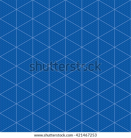 Isometric graph paper for 3D blueprint design. Seamless vector pattern. - stock vector