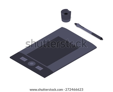 Isometric graphic tablet. Illustration suitable for advertising and promotion - stock vector