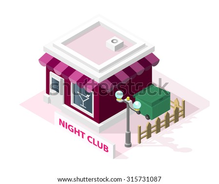 Isometric High Quality City Element with 45 Degrees Shadows on White Background. Night Club - stock vector