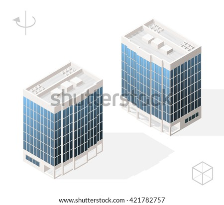 Isometric High Quality City Element with 45 Degrees Shadows on White Background. Skyscraper. Two Positions ( Left and Right ). - stock vector