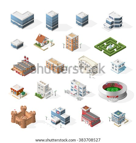 Isometric High Quality City Street Urban Buildings on White Background. - stock vector