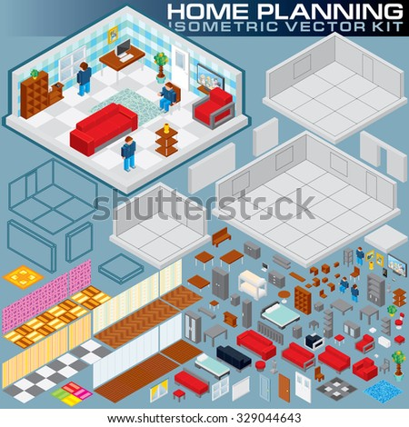 Isometric Home Plan. 3D Vector Creation Kit. Various Objects and Elements for Your Print Design, Game Apps or Business Presentation - stock vector