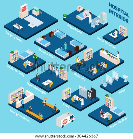 Isometric hospital interior with 3d health care personnel isometric vector illustration - stock vector