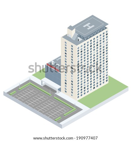 Isometric hospital with a heliport and a parking lot. EPS10 vector image. - stock vector