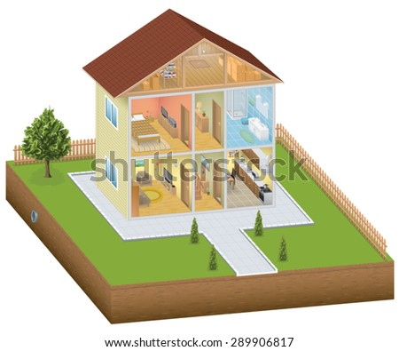 Isometric house interior with yard - stock vector
