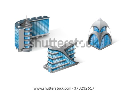 Isometric Houses - stock vector
