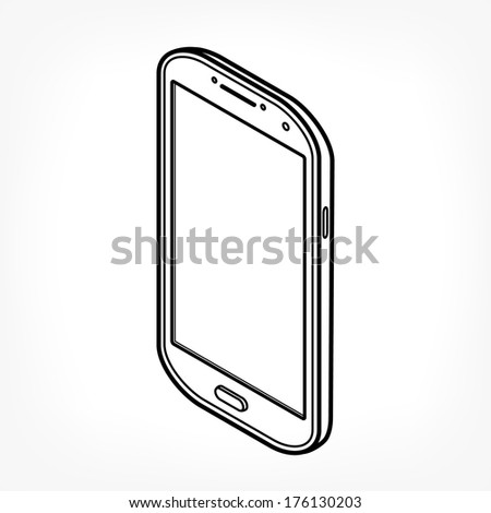 Isometric icon of mobile phone in minimalistic style - stock vector