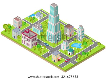 Isometric icon of the city is flat. Building house architecture, street urban town, map and construction, skyscraper exterior, facade and estate, residential office or home illustration - stock vector