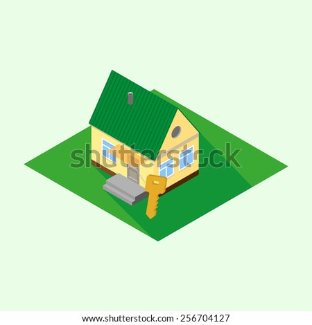Isometric icon of the house with a key on a green lawn. Vector illustration - stock vector