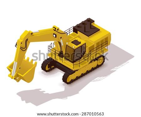 Isometric icon representing heavy yellow excavator - stock vector
