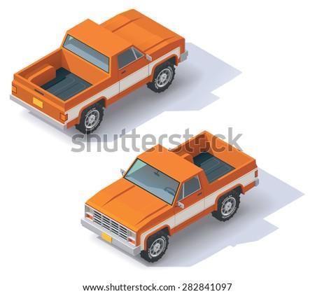 Isometric icon representing pickup truck - stock vector