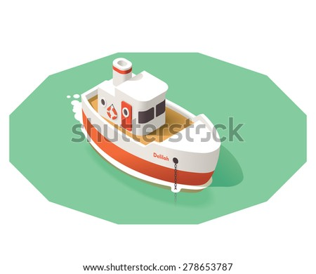 Isometric icon representing small ship - stock vector