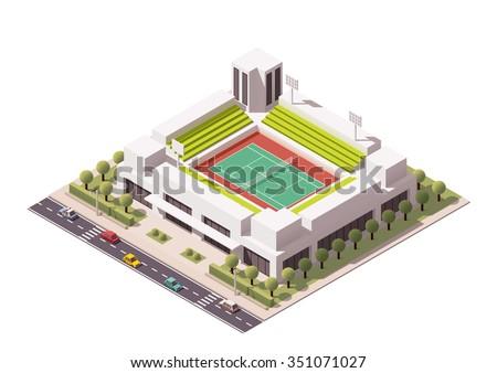 Isometric icon representing tennis stadium - stock vector