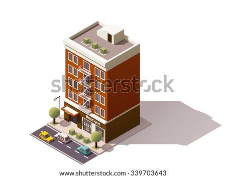 Isometric icon representing town building - stock vector