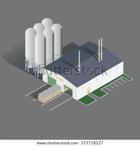 Isometric icon set representing brewing factory. Vector illustration - stock vector