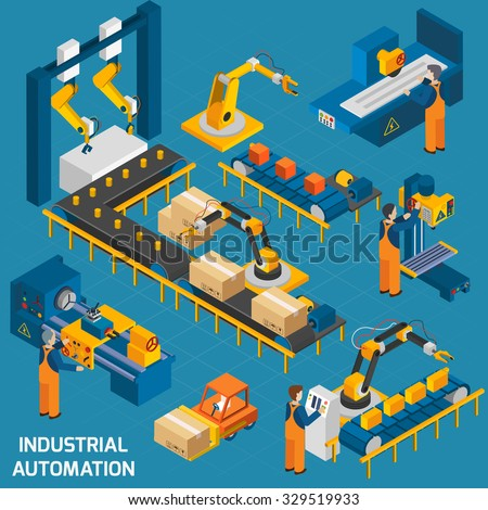 Isometric icons set with robotic machinery and  operators of  machine with control software  vector illustration - stock vector