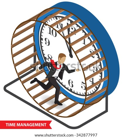 Isometric illustration of a stressed businessman in a suit running in a hamster wheel. Time management abstract illustration, isometric style. Time management concept. Isolated on  white background - stock vector