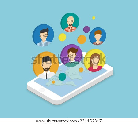 Isometric illustration of people communication via smartphone app. Circle people avatars connecting each other via social network conceptual poster - stock vector