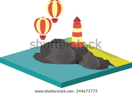 isometric illustration of sea landscape with an island in the sea and lighthouse on rocks flying balloon - stock vector