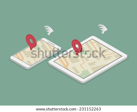 Isometric illustration of synchronization of smartphone and tablet pc using maps - stock vector