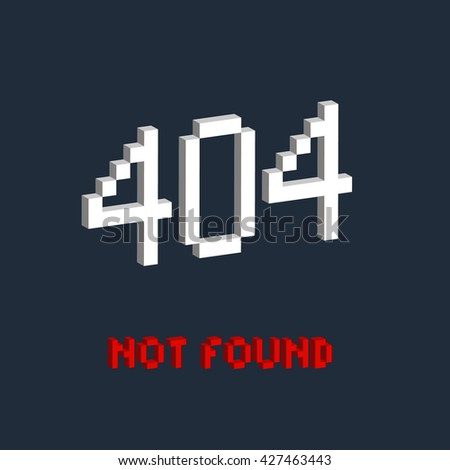 Isometric illustration pixel art 8 bit for website page not found 404 error red and white color isolated on blue background / vector eps 10 - stock vector