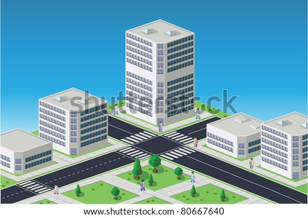 Isometric image of a fragment of the city on a colored background - stock vector