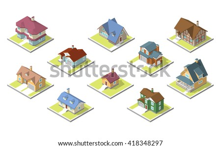 isometric image of a private house - stock vector