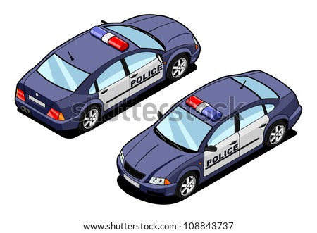 isometric image of a squad car - stock vector
