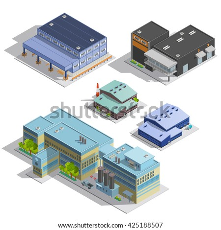 Isometric images set of different types of warehouse factory manufacture office buildings isolated vector illustration - stock vector