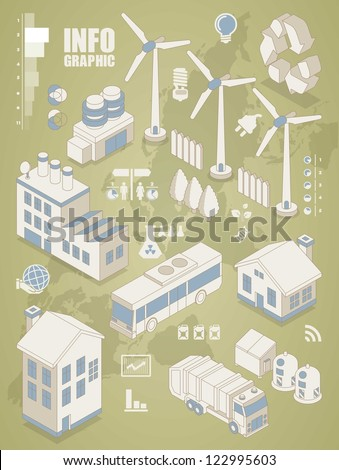 isometric info graphics, ecology vector elements,city icon set - stock vector