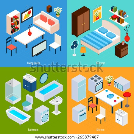 Isometric interior design concept set with living room bedroom bathroom and kitchen 3d icons isolated vector illustration - stock vector