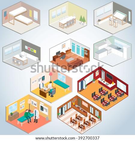 Isometric interior set, Isometric rooms  - stock vector