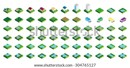 Isometric Kit of Buildings Blocks Trees and Houses - Grass Edition - stock vector