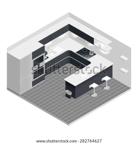 Isometric kitchen set vector graphic illustration design - stock vector