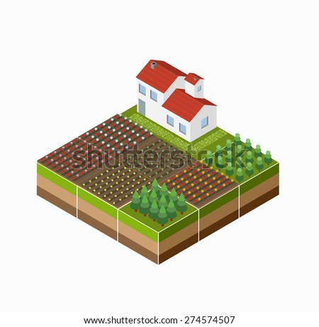 Isometric landscape of the countryside with the farm, the crop, the beds. - stock vector