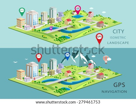 Isometric landscapes with city buildings, parks, plains, hills, mountains, lakes and rivers. Set of detailed city buildings. 3d isometric map with gps navigation  - stock vector