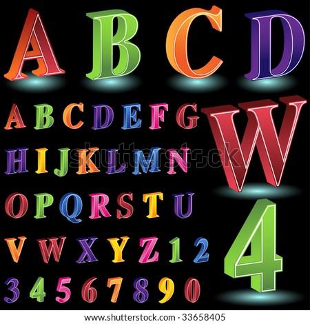 isometric letter number set black - stock vector