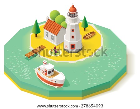 Isometric lighthouse building with pier and ship - stock vector