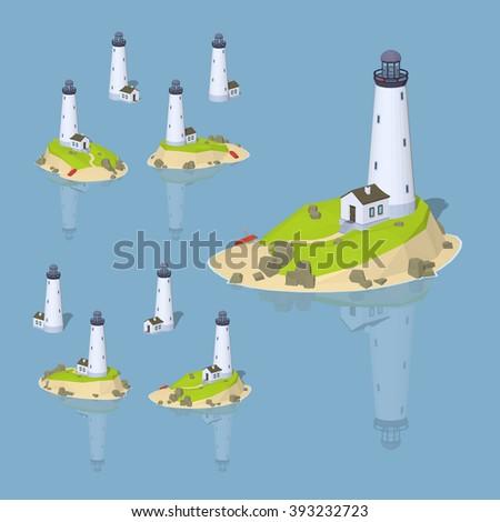 Isometric lighthouse. Vector isometric lighthouse. Isometric 3d lighthouse. Isometric low poly lighthouse. Isometric cartoon lighthouse. Isometric lighthouse set. Isometric lighthouse collection. - stock vector