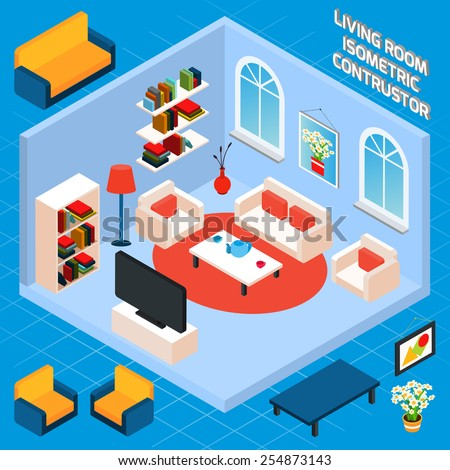 Isometric living room interior set with 3d furniture and domestic elements vector illustration - stock vector