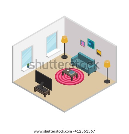Isometric living room with white walls, windows and furnishings: green sofa, round carpet, floor lamps, TV, coffee table, pictures in frames. All objects are movable and separated. Vector illustration - stock vector