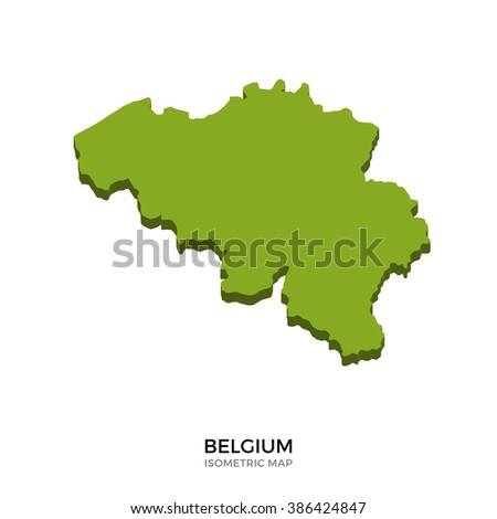 Isometric map of Belgium detailed vector illustration. Isolated 3D isometric country concept for infographic - stock vector