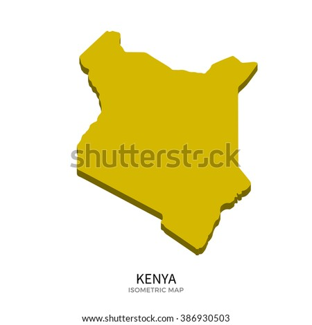 Isometric map of Kenya detailed vector illustration. Isolated 3D isometric country concept for infographic - stock vector