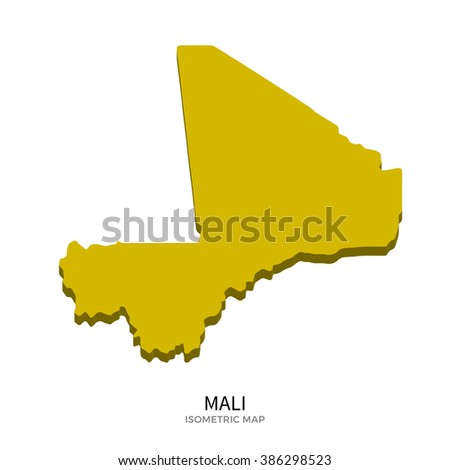 Isometric map of Mali detailed vector illustration. Isolated 3D isometric country concept for infographic - stock vector