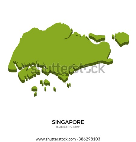 Isometric map of Singapore detailed vector illustration. Isolated 3D isometric country concept for infographic - stock vector