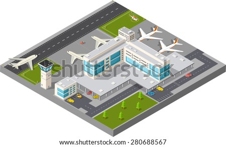 Isometric map of the city's airport, the trees and the flight of construction and building, terminal, planes and cars vector illustration. - stock vector