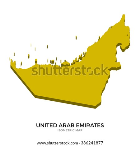 Isometric map of United Arab Emirates detailed vector illustration. Isolated 3D isometric country concept for infographic - stock vector